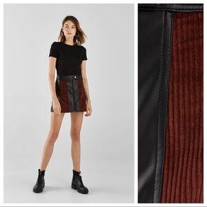 🌹NWT. Bershka Faux Leather/Corduroy Skirt. Size M